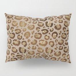 Brown Glitter Leopard Print Pattern Pillow Sham