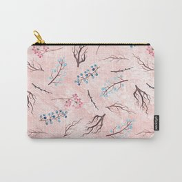 Watercolor coral brown blue pink floral marble Carry-All Pouch