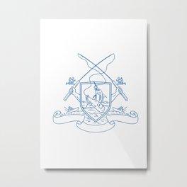 Fishing Rod Reel Hooking Blue Marlin Beer Bottle Coat of Arms Drawing Metal Print