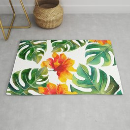 Monstera And Hibiscus Rug