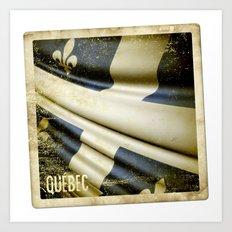 Quebec (Canada) grunge sticker flag Art Print