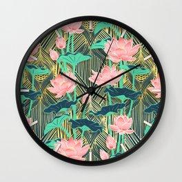 Art Deco Lotus Flowers in Peach & Emerald Wall Clock