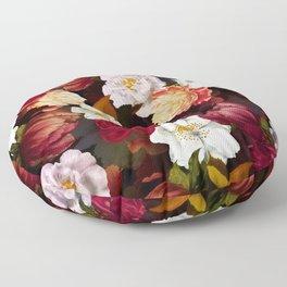 Vintage & Shabby Chic -Midnight Botanical Night Flower Garden  Floor Pillow