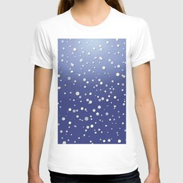 Winter Snow Navy Blue Ombre Background T-shirt