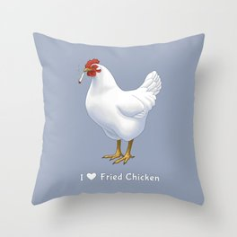 Funny Fried Chicken Pot Smoking White Hen Throw Pillow