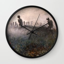 On the Wire War Landscape Painting by Harvey Thomas Dunn Wall Clock