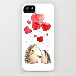 Hedgehogs in Love, illustration of hedgehog sweethearts with balloons. iPhone Case
