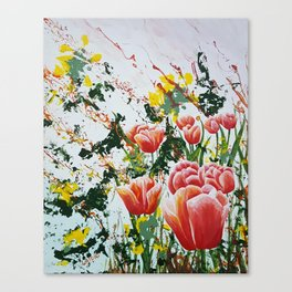 Edge of a tulip garden Canvas Print