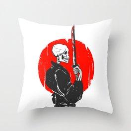 Samurai skull illustration -  black and white Throw Pillow