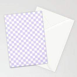 White and Pale Lavender Violet Checkerboard Stationery Cards