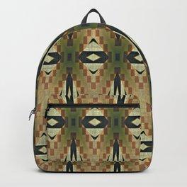 Olive Green Beige Brown Rustic Mosaic Pattern Backpack