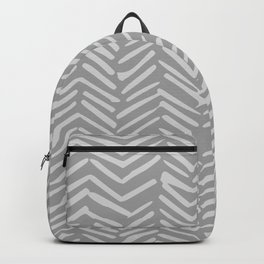 Geometric Art, Herringbone, Mudcloth, Gray, Wall Art Boho Backpack