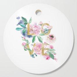 LOVE in Watercolor Peonies Cutting Board