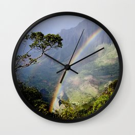 Rainbow Through the Rain: Kauai, Hawaii Wall Clock
