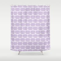 macaroon Shower Curtains featuring Purple Macaroon Pattern - Lavender Macaron by French Macaron Art Print and Decor Store