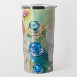Colorful perfume bottles  and jewelries Travel Mug