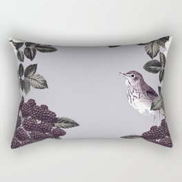 Birds and the Bees Blue Gray Rectangular Pillow