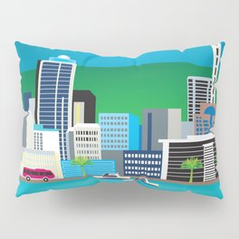 Auckland, New Zealand - Skyline Illustration by Loose Petals Pillow Sham