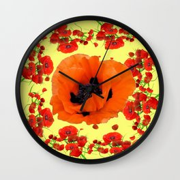 MODERN ART POPPIES GARDEN GREY DESIGN Wall Clock