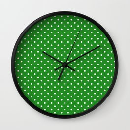 Dots (White/Forest Green) Wall Clock