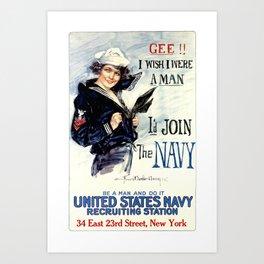 Vintage U.S. Navy Recruitment Poster Art Print