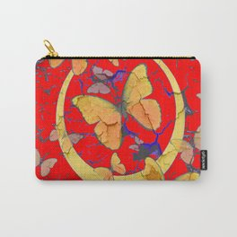 SHABBY CHIC GOLDEN BUTTERFLIES & RED ABSTRACT ART Carry-All Pouch