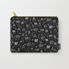 Potted Plants Pattern (White on Black) Carry-All Pouch