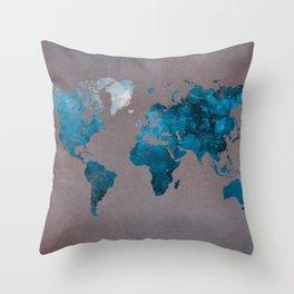 world map 104 blue #worldmap #map Throw Pillow