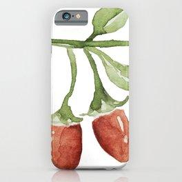 Watercolor goji berry illustration iPhone Case