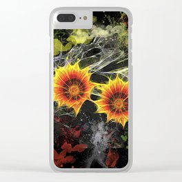 Glowing yellow daisies on black Clear iPhone Case