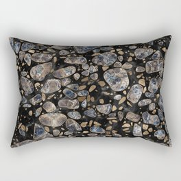 Terrazzo - Marble and Gold Rectangular Pillow