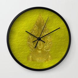 Golden beautiful golden Buddha head in delicate yellow Wall Clock