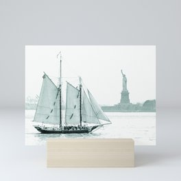 Statue of Liberty with Schooner Mini Art Print