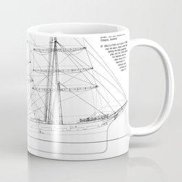 Balclutha Ship Outboard Profile Diagram Coffee Mug