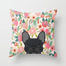 French Bulldog floral dog head cute pet gifts dog breed frenchies Throw Pillow