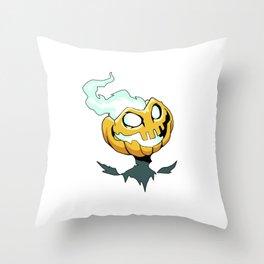 Flaming Pumpkin Head Throw Pillow