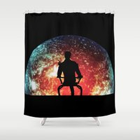 mass effect Shower Curtains featuring Illusive man ( Mass Effect ) by TxzDesign