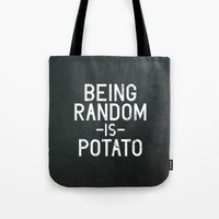 random Tote Bags featuring Random by Vectored Life