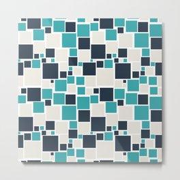 Teal Turquoise Aqua Dark Navy Blue and Alabaster White Funky Mosaic Pattern on White - Aquarium SW 6767 Metal Print