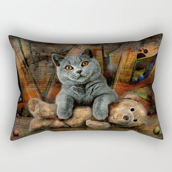 Cat Diesel with teddybear ! Rectangular Pillow