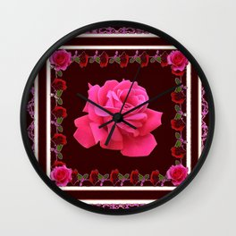 FUCHSIA PINK ROSE & BURGUNDY FLORAL PATTERNED ART Wall Clock