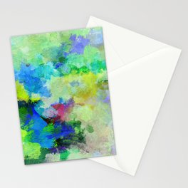 Original Green Abstract Painting on Canvas Stationery Cards