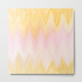 Modern hand painted pink yellow watercolor chevron ikat Metal Print