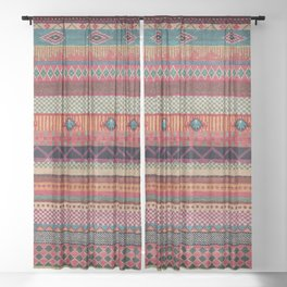Oriental Traditional Rug Artwork Design C13 Sheer Curtain
