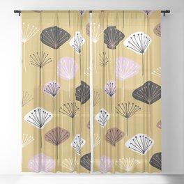 dandelion yellow black pink purple white pattern print Sheer Curtain