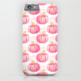 Hello, Pumpkin | Watercolor Illustration and Pattern in Rose Pink and Gold Colors iPhone Case
