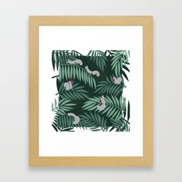 Palm Leaves & Squirrels Framed Art Print