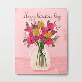 Valentines Day Bouquet floral vase flower by Andrea Lauren  Metal Print