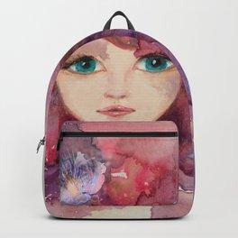 Watercolor Flower Girl Lilac Pink Purple Hair Backpack