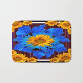 Decorative Sunflower Patterns Blue Leaves Bath Mat